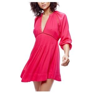NWT Free People Go Lightly Swing Dress. Hot Pink